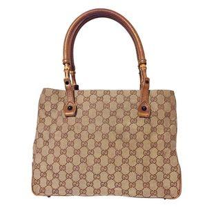 Gucci brown monogram canvas bamboo satchel handbag